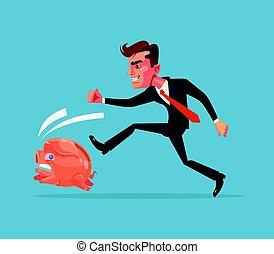 plat, financier, bank., employé bureau, après, caractère, illustration, suivre, courant, vecteur, porcin, crisis., homme affaires, dessin animé, chasse