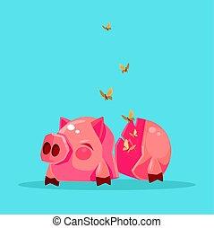 plat, financier, bank., non, argent., illustration, cassé, vecteur, porcin, crisis., dessin animé, vide