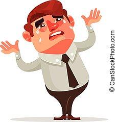 plat, financier, bureau, caractère, ouvrier, illustration, vecteur, homme affaires, crisis., crying., dessin animé