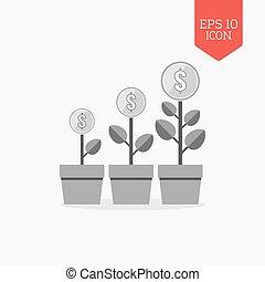 plat, financier, navigation, gris, couleur, argent, concept., moderne, symbole., arbres, croissance, conception, toile, ui, icon., signe.