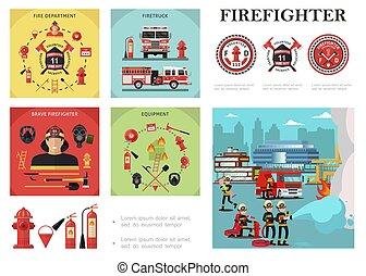 plat, firefighting, kleurrijke, samenstelling