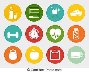plat, fitness, iconen