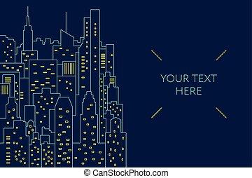 plat, flayer, illustration., gabarit, nuit, cityscape, ligne