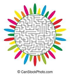plat, fleur, formulaire, arrière-plan., labyrinthe, résumé, isolé, illustration, silhouette., simple, vecteur, blanc