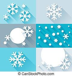 plat, flocons neige, conception abstraite, fond, style.