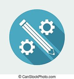 plat, fonctionnement, -, créatif, vecteur, icône