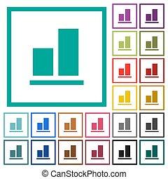 plat, fond, couleur, aligner, icônes, quadrant, cadres