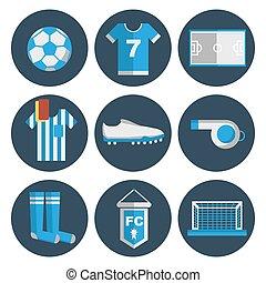 plat, football, ensemble, icône