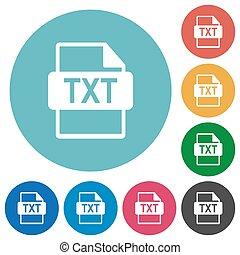 plat, formaat, iconen, bestand, txt, ronde