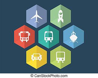 plat, formaat, iconen, editable, vector, ontwerp, vervoeren