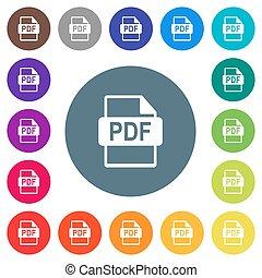 plat, formaat, kleur, iconen, achtergronden, bestand, pdf, witte , ronde