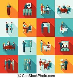 plat, formation, ensemble, icones affaires