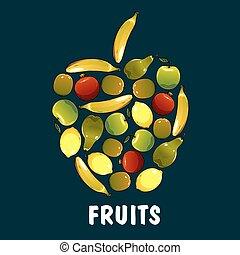 plat, forme, fruits, pomme, icônes