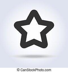 plat, forme, icône, étoile, conception