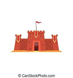 plat, forteresse, historique, moyen-âge, architecture., héraldique, entrée, enfants, tours, s, vecteur, fer, défensif, grille, fée, flags., contes, rouges, bâtiment.