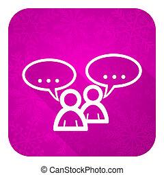 plat, forum, bouton, bavarder, violet, icône, symbole,...