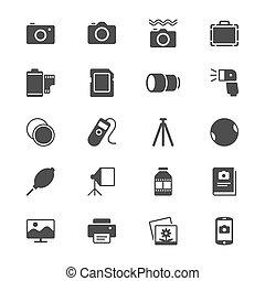 plat, fotografie, iconen