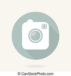 plat, fototoestel, lang, vector, schaduw, pictogram