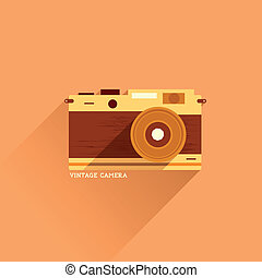 plat, fototoestel, ouderwetse , pictogram