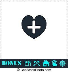 plat, foyer, santé, croix, icône
