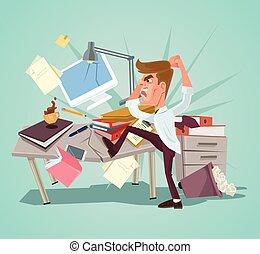 plat, fracas, bureau, caractère, fâché, ouvrier, illustration, workplace., vecteur, dessin animé