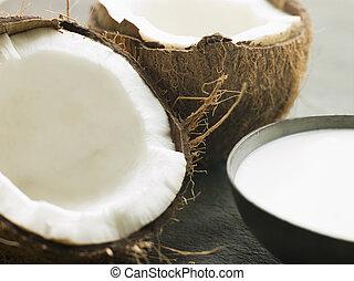 plat, frais, noix coco, fente, lait