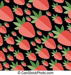 plat, fraises, rouge noir, arrière-plan.