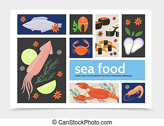 plat, fruits mer, infographic, gabarit