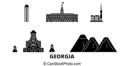 plat, géorgie, illustration, voyage, landmarks., symbole, horizon, vecteur, noir, vues, ville, set.