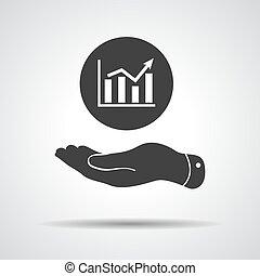 plat, gaan, het tonen, -, op, hand, vector, grafiek, illustrati, pictogram