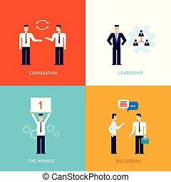 plat, gagnant, business, réussi, association, direction, collaboration, coopération, conception, bannière