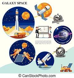 plat, galaxie, coloré, gabarit, espace
