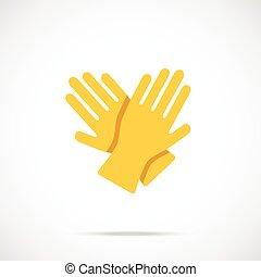 plat, gants, nettoyage, jaune, icône