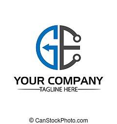 plat, ge, stockage, lettre, logo, initial., technologie, ...