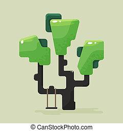 plat, gebladerte, boompje, groene, illustratie