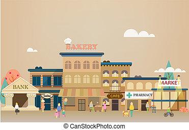 plat, gebouwen, set, zakelijk, ontwerp, kleine