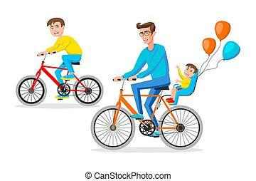 plat, geitjes, gezin, bikes., vader, silhouette, illustratie, twee, fietser, vector, ontwerp