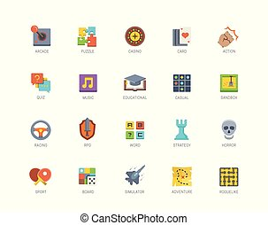 plat, genres, set, iconen, stijl, spel, vector, video, ontwerp