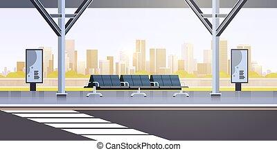 plat, gens, autobus, moderne, arrêt, vide, aéroport, station, non, fond, cityscape, horizontal, transport commun