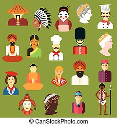 plat, gens, avatars, multiethnic, icônes