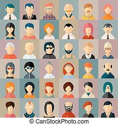 plat, gens, caractère, avatar, icônes