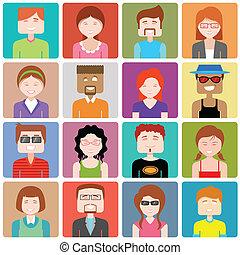 plat, gens, conception, icône