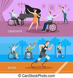 plat, gens, handicapé, 2, bannières, composition