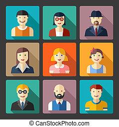 plat, gens, icônes, icônes, avatar, faces