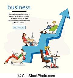 plat, gens, ordinateur portable, business, fonctionnement, croissance, arrow., ensemble, équipe, illustration, développer, business., graphique, vecteur, professionnel, séance, concept