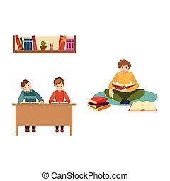 plat, gens, scène, vecteur, livres, lecture