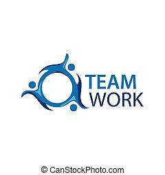 plat, gens., travail, illustration, vecteur, fond, équipe, blanc