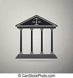 plat, gerechtshof, vrijstaand, illustratie, grijze , achtergrond., vector, pictogram, design.