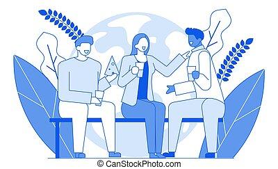 plat, gesprekken, mensen, communicatie, moderne, karakter, jonge, samen, spotprent, klesten, emotionally, concept.outline, karakters, tijd, internationaal, lijn, vrienden, vriendelijk, vrolijke
