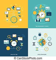 plat, gestion, chronométrez icônes